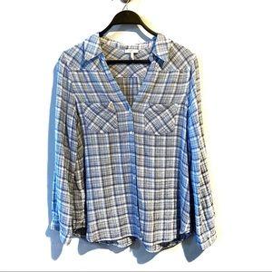 Joie Cotton Split Neck Button Down Shirt